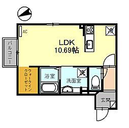 SENSYU 2階ワンルームの間取り