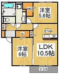(仮)D-room東所沢和田[2階]の間取り