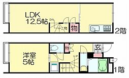福岡県糟屋郡須惠町大字新原の賃貸アパートの間取り