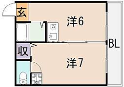 ビガーポリス東大阪ロータスマンション[4階]の間取り