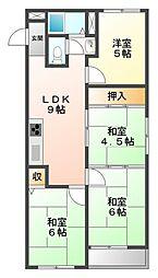 (分譲)西宮第3コーポラスB棟[5階]の間取り