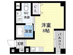 オリエントシティ・K 7階ワンルームの間取り