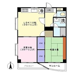 第二石川台ビル[203号室]の間取り