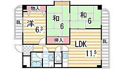 パストラル住道[207号室]の間取り
