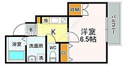 JR中央本線 国立駅 徒歩12分の賃貸アパート 1階1Kの間取り