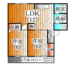 兵庫県三田市南が丘2丁目の賃貸アパートの間取り