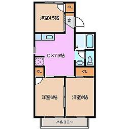 三重県鈴鹿市白子3丁目の賃貸アパートの間取り