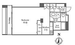 リバーシティ21イーストタワーズ10号棟 23階ワンルームの間取り