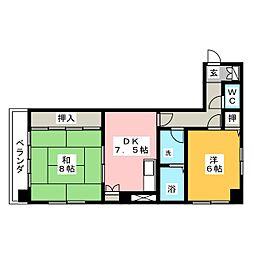 第二宝来マンション[6階]の間取り