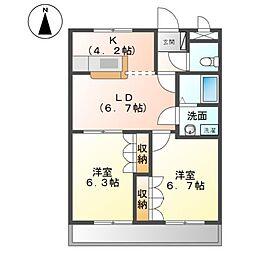 サニーハウス南B[2階]の間取り