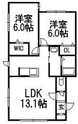 北海道札幌市白石区北郷一条1丁目の賃貸アパートの間取り