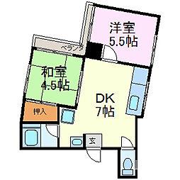 森田ハイツ[402号室]の間取り
