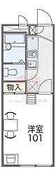 南海高野線 萩原天神駅 徒歩8分の賃貸アパート 1階1Kの間取り