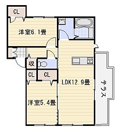 シャーメゾン神市[105号室]の間取り