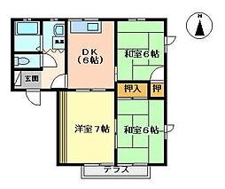 ドミール鍋島A[102号室]の間取り