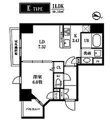 東京メトロ銀座線 三越前駅 徒歩5分の賃貸マンション 7階1LDKの間取り
