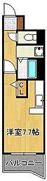 JR鹿児島本線 黒崎駅 徒歩7分の賃貸マンション 3階ワンルームの間取り