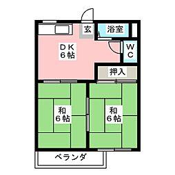 ファミール竹の山[1階]の間取り