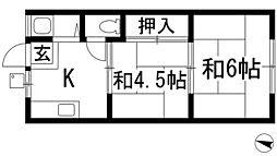大阪府箕面市桜4丁目の賃貸アパートの間取り