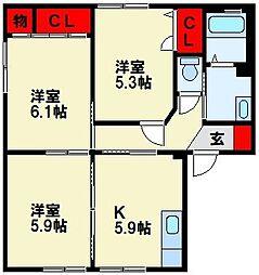 三洋タウン本城 B棟[101号室]の間取り