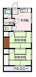 シーサイドコーポ2階Fの間取り画像