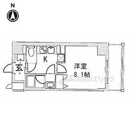 阪急京都本線 西院駅 徒歩11分の賃貸マンション 2階1Kの間取り