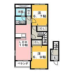 ラトゥールII[2階]の間取り