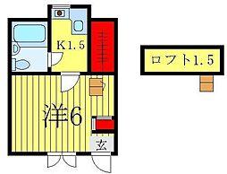 ジュネパレス松戸第59[201号室]の間取り