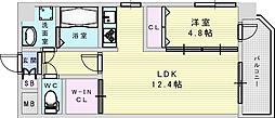 おおさか東線 南吹田駅 徒歩4分の賃貸マンション 7階1LDKの間取り