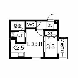 Y.T tower月寒東(ワイドットティータワー月寒東) 4階1LDKの間取り