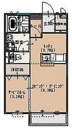 ピーチカノン[202号室号室]の間取り