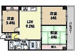 メゾン・ド・ヴィオレット 1階3DKの間取り