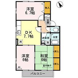 グレース東山本[2階]の間取り