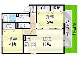 南海高野線 萩原天神駅 徒歩11分の賃貸アパート 1階2LDKの間取り
