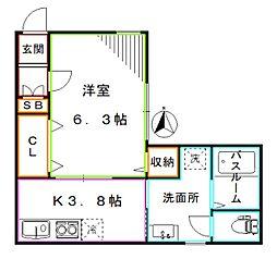JR総武線 中野駅 徒歩4分の賃貸アパート 1階1Kの間取り