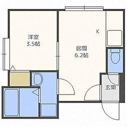 北海道札幌市東区北二十四条東1丁目の賃貸アパートの間取り