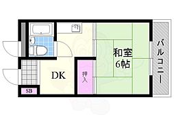豊里丸富マンション 3階1DKの間取り