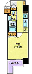 東京メトロ日比谷線 虎ノ門ヒルズ駅 徒歩10分の賃貸マンション 11階1Kの間取り