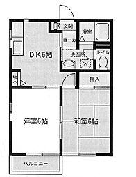 コーポラスムラタ[1階]の間取り