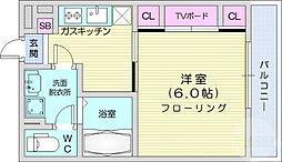 JR仙石線 宮城野原駅 徒歩7分の賃貸アパート 3階1Kの間取り
