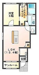 JR山陽本線 上道駅 バス5分 平島下車 徒歩8分の賃貸アパート 1階1LDKの間取り