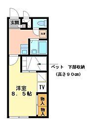 兵庫県姫路市網干区高田の賃貸アパートの間取り