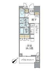 JR山手線 目黒駅 徒歩1分の賃貸マンション 7階ワンルームの間取り