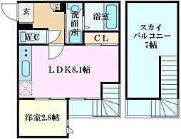 Grandtic東雲本町I 2階1LDKの間取り