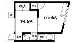 甲子園四番町文化[1Fmina号室]の間取り