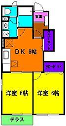 静岡県浜松市中区中央2丁目の賃貸アパートの間取り