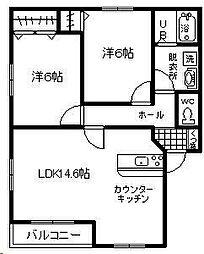 エムシーメゾン赤江[101号室]の間取り