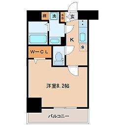 仙台市地下鉄東西線 宮城野通駅 徒歩9分の賃貸マンション 6階1Kの間取り