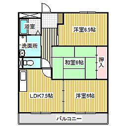 愛知県名古屋市中川区江松5丁目の賃貸マンションの間取り