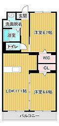 サンシャインユタカⅡ[2階]の間取り